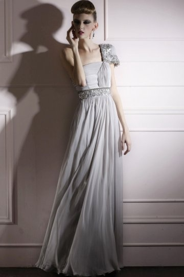 A line One Shoulder Sequined Ruched Grey Tencel Evening Dress
