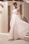 A-line One Shoulder Beaded Ruched Pink Tencel Evening Dress