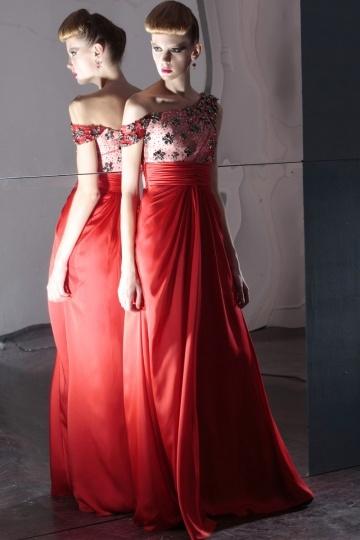 Vestido de Noche de Gasa Rojo con Solo hombro Volante Abalorio Corte Recto