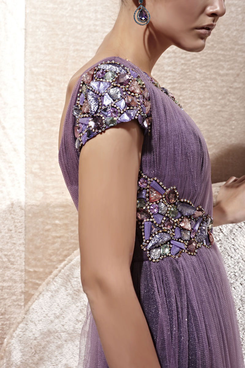 purple tulle a line strapless evening dress details