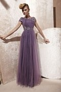 Boatneck Purple Ruched Draping A-line Tulle Evening Dress