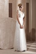 A-line V-neck Embroidery Beaded White Tulle Evening Dress