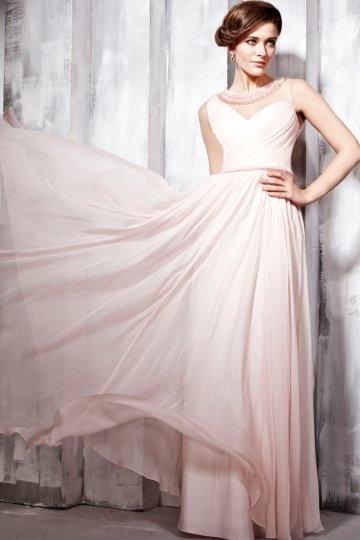 Vestido de Noche de Lyocell Rosa con Escote Redondo volante Corte A