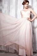 Vestido de noite em Tencel rosa linha-A à decote rodada pregueado
