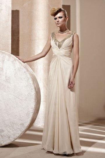 Vestido de noite bege linha-A decorado de strass decote em V em Tencel