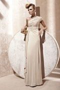 Ruffles Draping One Shoulder Jersey Sheath Formal Dress