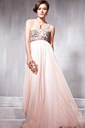 A-line One Shoulder Beading Pink Evening Dress