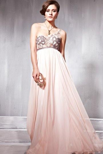 Dressesmall Pleats Ruching One Shoulder Tencel A line Formal Evening Dress