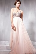 A line One Shoulder Beading Pink Evening Dress