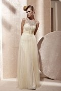 Ruched Draping Boat neck Tulle A line Evening Dress