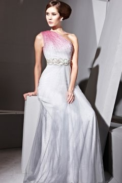 Modern One Shoulder Tulle Color Block Long Evening Gown