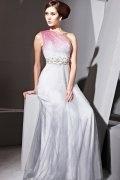 Vestido de noite em Tencel um ombro linha-A decorado de strass pintado à mão