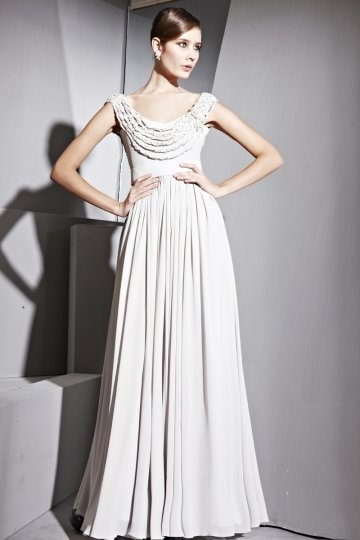 Dressesmall Draping Scoop Chiffon Long A line Evening Dress