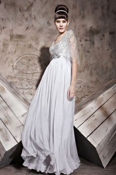 V neck Sequins Elbow Sleeves Cheap Evening Dress