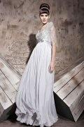 Vestido de Noche de Gasa con Escote en V Abalorio lentejuelas Corte A