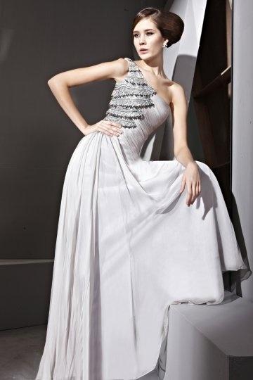 Vestido de Noche de Lyocell con Solo Hombro Abalorio Applique Corte A