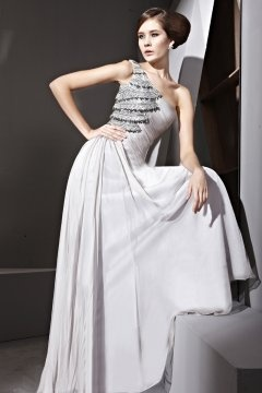 One Shoulder Appliques Long Gray Evening Dress UK
