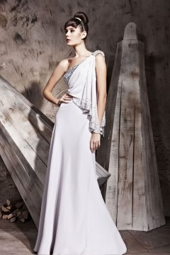 Unique One Shoulder Sequins Draping Cheap Evening Dress UK