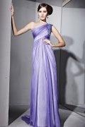 Elegante Vestido de Noche de Lyocell con Solo Hombro Abalorio Volante Corte A