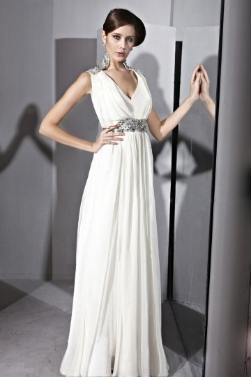 Vestido de Noche de Lyocell Blanco con Escote en V Abalorio Volante Corte A