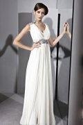 Vestido de noite em Tencel branco linha-A pregueado e decorado de strass decote em V
