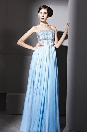 Elegante Vestido de Noche de Lyocell Sin Tirantes Abalorio Corte A