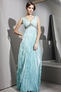 V-neck Green Empire Beaded Ruffle A-line Tencel Evening Dress