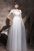 Long Eaton Tulle Square Short Sleeve Beading A line Evening Dress