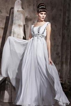 A Linie Carré Ausschnitt Empire gefaltetes Perlen verziertes Tencel Abendkleid