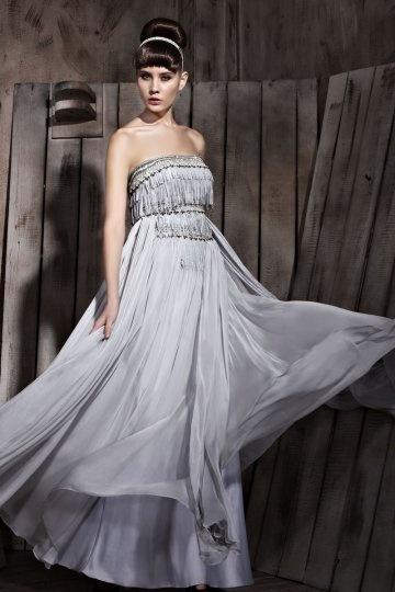 Dressesmall Beading Tassels Strapless Tencel A line Formal Evening Dress