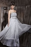 A line Strapless Beading Tassel Tencel Evening Dress