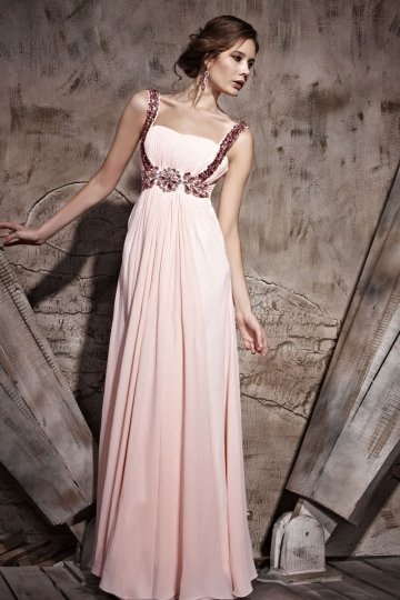 Dressesmall Ruched Beading Straps Tencel A line Formal Evening Dress