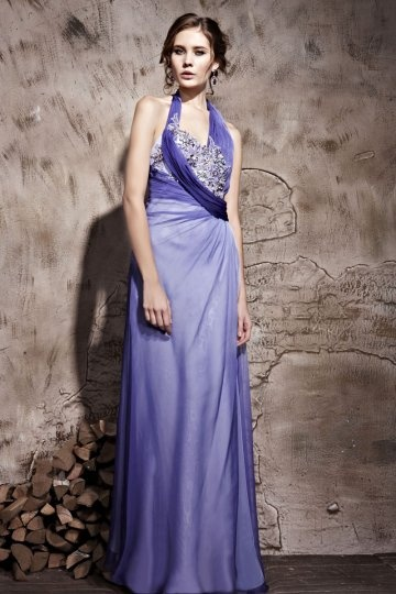 Halter Purple Ruched Applique A-line Tencel Evening Dress