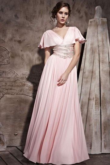 A Linie V Ausschnitt Rüsche Ärmel gefaltetes rosa Chiffon Abendkleid Persun