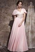 Vestido de noite em Chiffon de seda rosa linha-A com manga pregueado decote em V