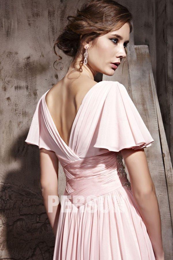 robe soir e rose taille empire col v avec manches ruch es jmrouge. Black Bedroom Furniture Sets. Home Design Ideas
