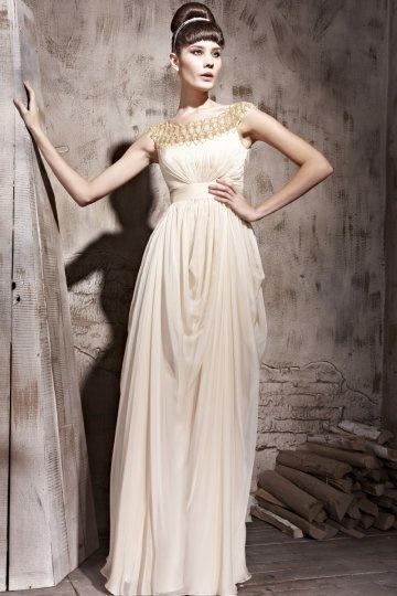 Vestido de noite plissado em Tencel bege linha-A decote Canoa pregueado e decorado de strass