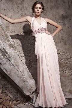 Robe soirée rose longue tour du cou à dos nu