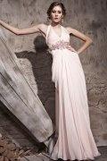 Vestido de Noche de Lyocell Rosa con Escote Halter escotado por detrás Corte A