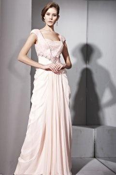 A Linie Carré Ausschnitt Cap Ärmel Paillette rosa Tencel Abendkleid