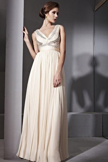 Vestido de noite em Tencel bege linha-A decorado de strass decote em V com apliques