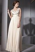 Vestido de Noche de Lyocell Crema con Escote en V Abalorio Applique Corte A