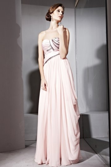 Dressesmall Elegant Side Draping Beading Strapless Tencel A line Long Formal Evening Dress
