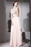 A line Strapless Ruched Pink Tencel Evening Dress