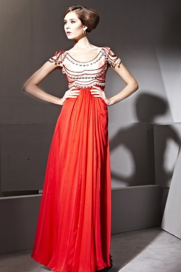 Vestido de noite em Tencel vermelho linha-A decote oval decorado de strass
