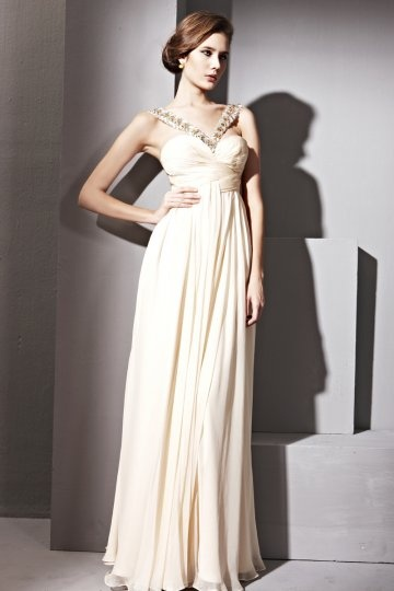 Vestido de noite em Tencel bege linha-A decorado de strass decote em V