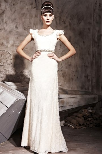 Dressesmall Elegant Beading Ruffles Round Neck Tulle Column Formal Evening Dress