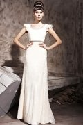 Elegant Beading Ruffles Round Neck Tulle Column Formal Evening Dress