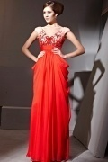 Noble Applique Beading Ruching V neck Tencel Red Formal Evening Dress