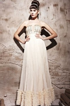 Halewood Strapless Ruffles Long Beige Evening Gown